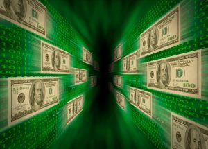 Hundred dollar bills moving in digital space