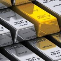 Stack of gold and silver bars