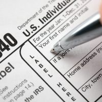 US tax form 1040 being filled out