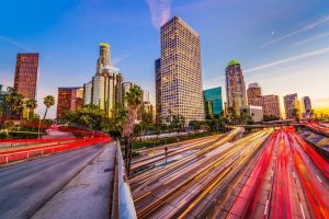 Los Angeles city buildings and highway
